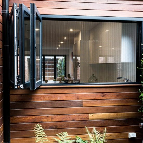 Bifold window in house