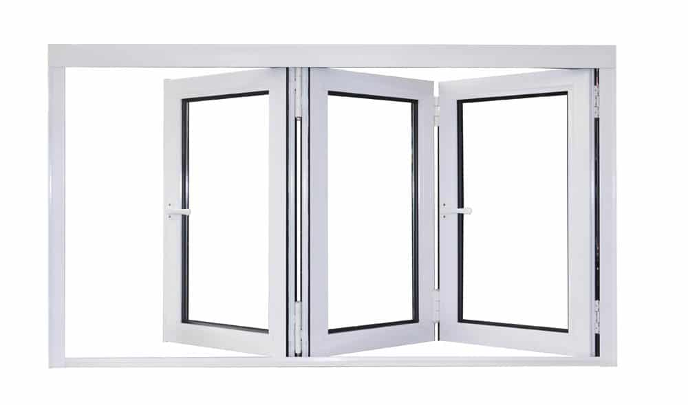 Bifold window with aluminium frame