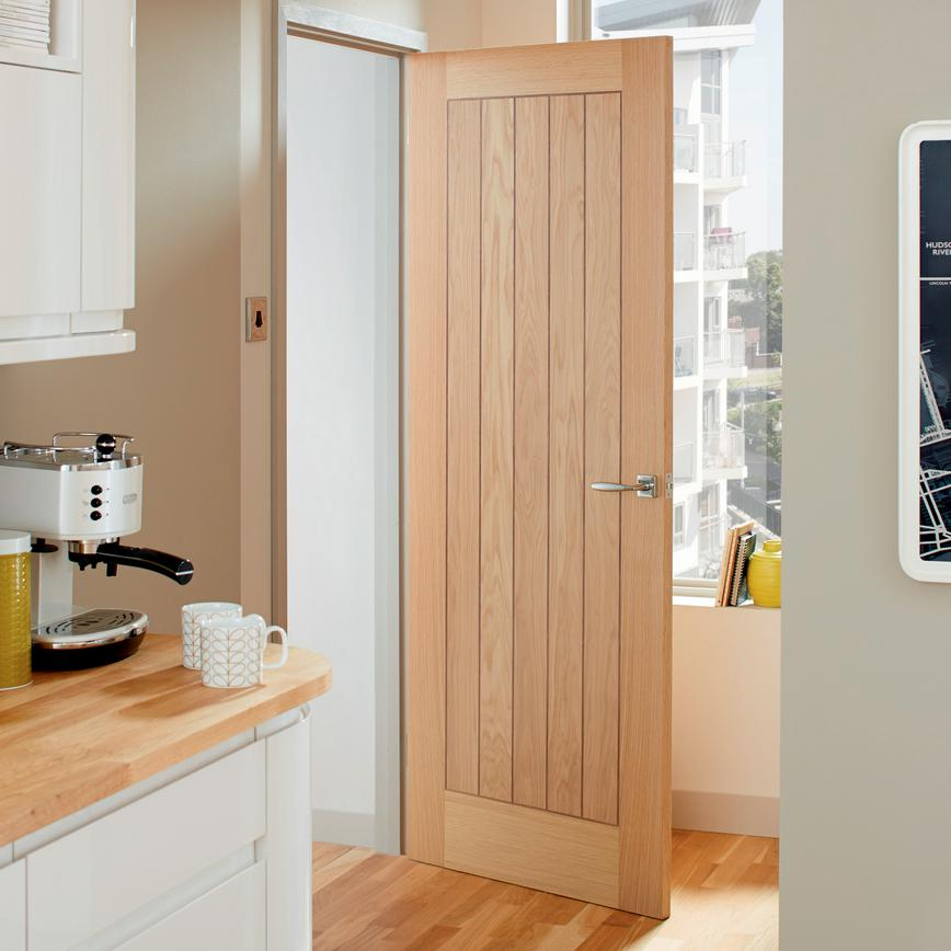 "Howdens French Doors: American Oak ""Mexicano"" Internal Timber Door"