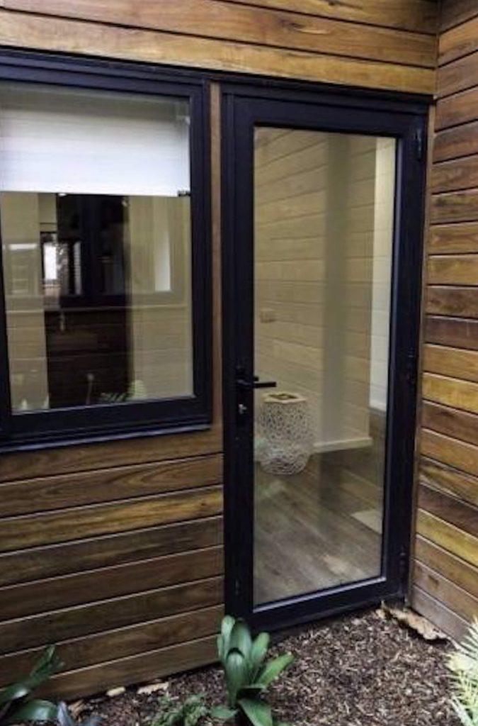 Aluminium Entry Door Black Double Glazed Shield 2 Uptons Group Construction Supplies