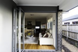Aluminium Bifold Door Silver - open - view from outside