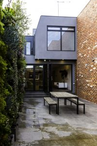 SHIELD_Aluminium Bifold Door Black - open - outside view